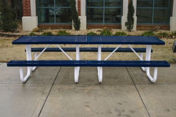 rectangular thermoplastic picnic table expanded metal portable frame - Commercial Picnic Tables