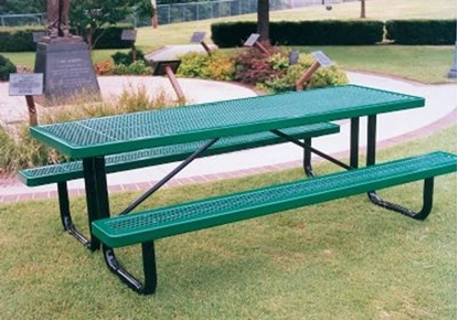 Picture of 8 ft Rectangular Thermoplastic Steel Picnic Table - Portable