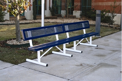 Picture of 10 ft. Bench with Back - Thermoplastic Coated Steel - Regal Style - Portable