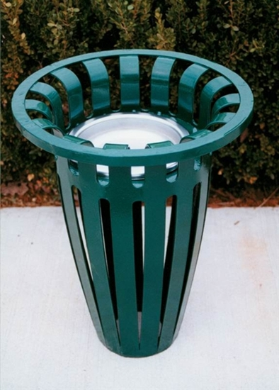 Picture of Flared Top Round Ash Urn - Plastic Coated Ribbed Steel - Portable