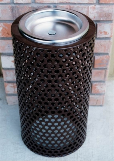 Picture of Round Ash Urn - Plastic Coated Perforated Steel - Portable