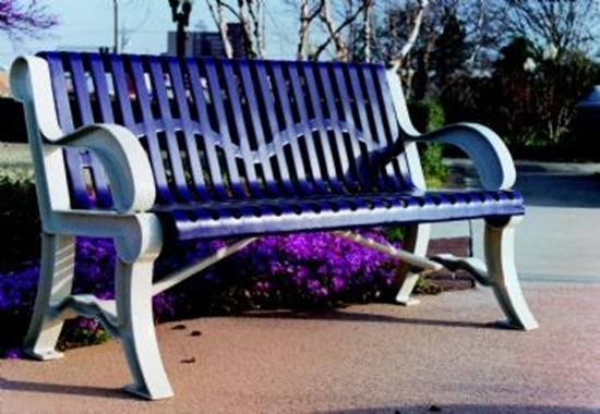 Picture of 5 ft. Bench with Back - Thermoplastic Coated Steel and Cast Aluminum Legs - Classic Style - Portable