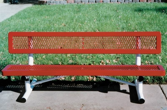 Picture of Child's 6 ft. Bench with Back - Thermoplastic Coated Steel - Expanded Metal - Regal Style - Portable