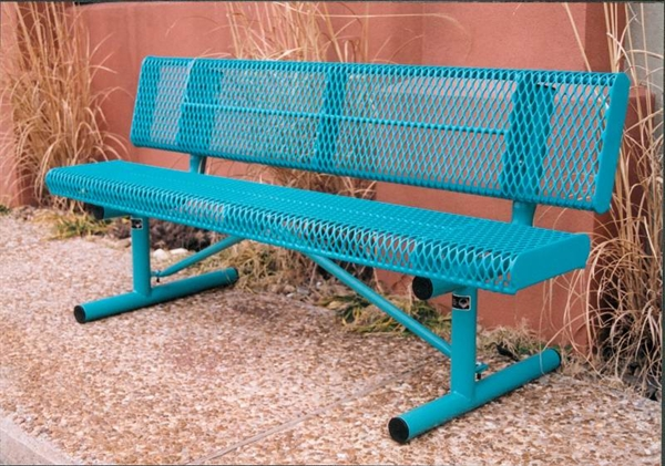 6 Ft Bench With Back Thermoplastic Coated Steel