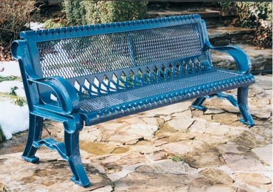 Picture of 6 ft. Bench with Back - Thermoplastic Coated Steel with Cast Aluminum Frame - Perforated Style - Inground Mount
