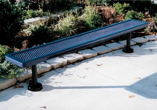 Picture of 8 ft. Bench without Back - Thermoplastic Coated Steel - Expanded Metal - Surface Mount