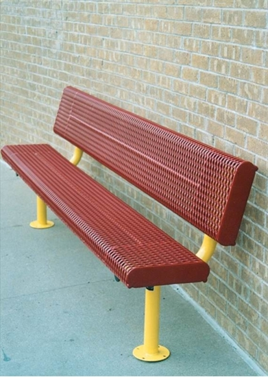 Picture of 8 ft. Bench with Back - Thermoplastic Coated Steel - Rolled Expanded Metal - Surface Mount
