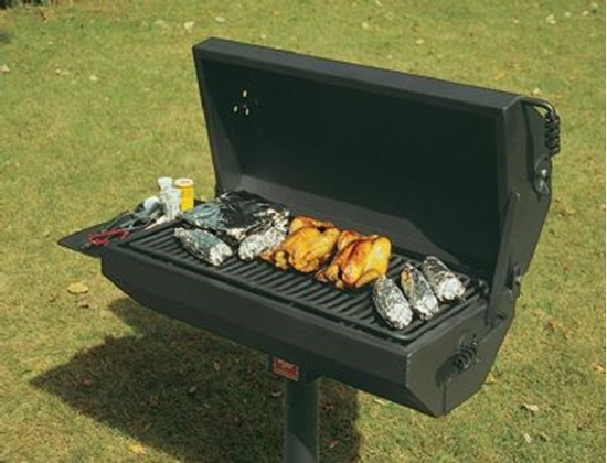 Picture of Covered Barbecue Grill with Shelf 320 Square Inch Steel - In-Ground Mount