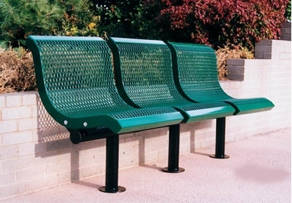 Picture of 3 Seat Convex Bench with Back - Thermoplastic Coated Steel - Expanded Metal - Surface Mount