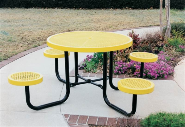 Round Picnic Table Thermoplastic Coated Steel Expanded