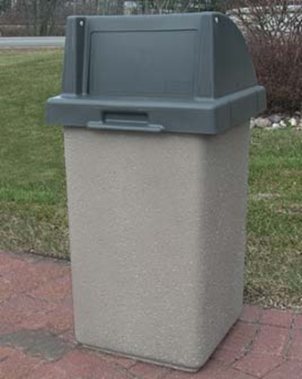 Picture of 30 Gallon Concrete Trash Can - Self Closing Push Door Top - Portable