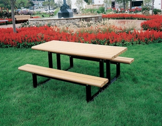 Picture of Rectangular 6 Ft. Recycled Plastic Picnic Table - Powder Coated Steel Frame - In-Ground Mount