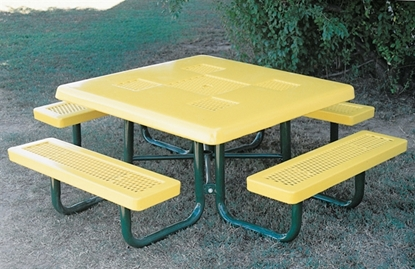 Picture Of Childu0027s Semi Solid Square Picnic Table   Thermoplastic Expanded  Metal   Portable