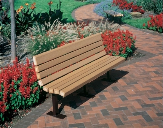 Picture of 8 Ft. Recycled Plastic Bench - Powder Coated Steel - In Ground Mount