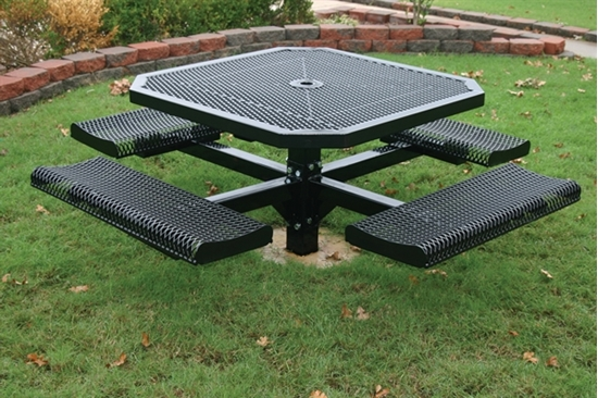 Picture of Octagonal Picnic Table - Thermoplastic Steel - Perforated Style - Inground
