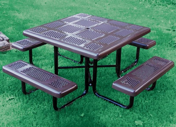 Square Thermoplastic Picnic Table Perforated Metal Portable By - Square metal picnic table
