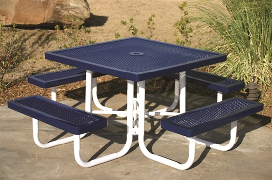 Picture of Square Thermoplastic Picnic Table - Expanded Metal - Portable
