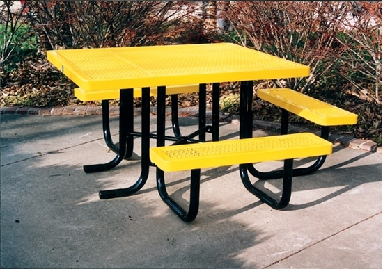 ADA Square Thermoplastic Picnic Table - 3 Seats
