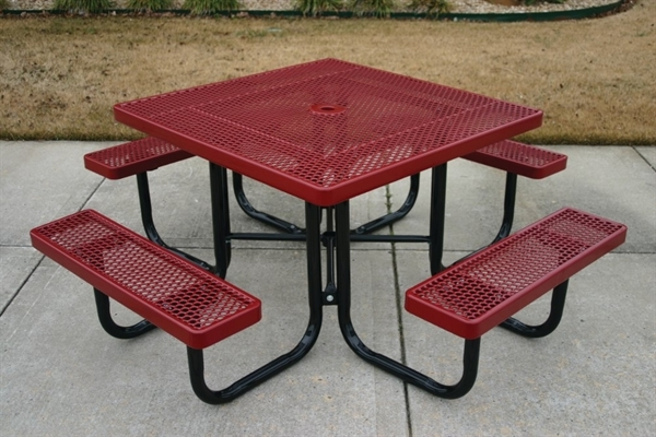 Picture Of Square Thermoplastic Metal Picnic Table   Perforated Style    Portable