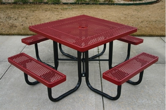 Picture of Square Thermoplastic Metal Picnic Table - Perforated Style - Portable