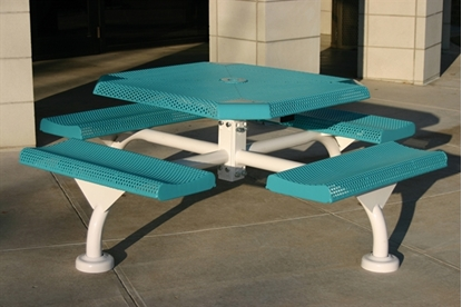 Picture of Octagonal Picnic Table - Thermoplastic Steel - Perforated Style - Portable