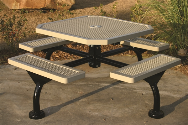 Octagonal Thermoplastic Picnic Table Regal Style Portable Or - Picnic table seats 8