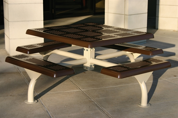 Square Picnic Table Thermoplastic Perforated Metal Portable By - Square metal picnic table