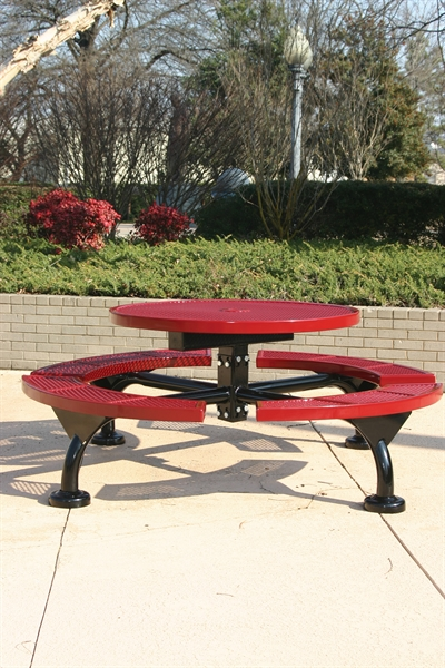 Round Thermoplastic Picnic Table Expanded Metal