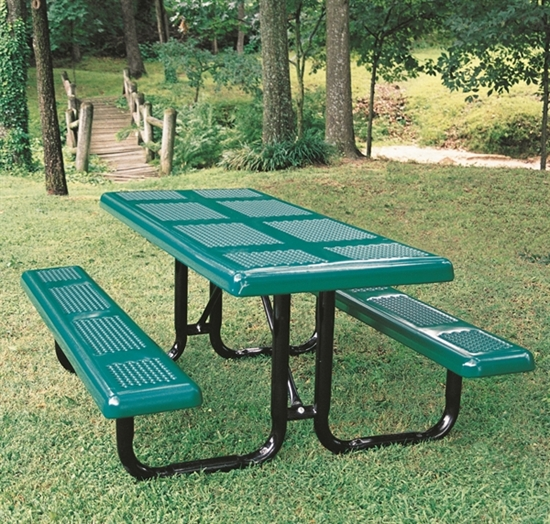 Picture of Rectangular 6 ft. Thermoplastic Steel Picnic Table - Perforated