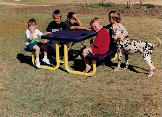 Picture of 6 ft. Children's Rectangular Thermoplastic Steel Picnic Table - Regal Style - Portable