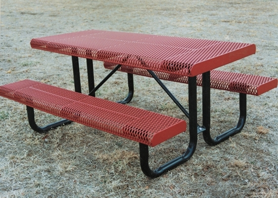 Picture of 6 ft Rectangular Thermoplastic Steel Picnic Table - Regal Rolled Style