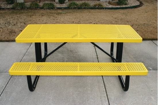 Picture of 6 ft Thermoplastic Steel Picnic Table -  Perforated Style