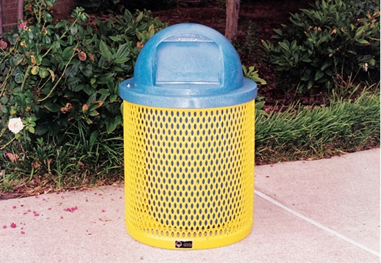 Picture of 22 Gallon Plastic Coated Trash Receptacle  with Liner and Dome Top- Expanded Metal