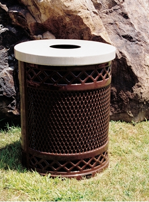 Picture of 32 Gallon Avenue Style Trash Receptacle - Plastic Coated Expanded Metal