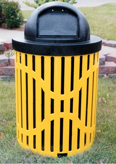 Picture of 32 Gallon Classic Trash Receptacle - Plastic Coated Ribbed Steel - Includes Liner and Dome Top