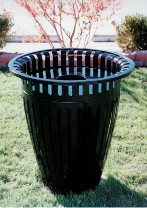picture of 32 gallon crown trash can with flared top ribbed steel liner and crown - Outdoor Trash Cans