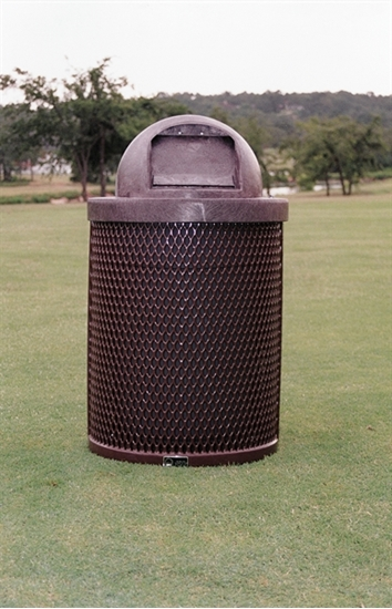 Picture of 32 Gallon Trash Can with Dome Top - Plastic Coated Expanded Metal - Portable