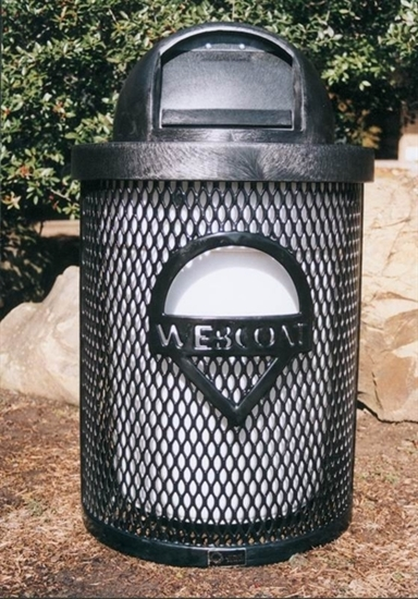 Picture of Custom Logo Perforated Trash Receptacle - 32 Gallon - Dome Top