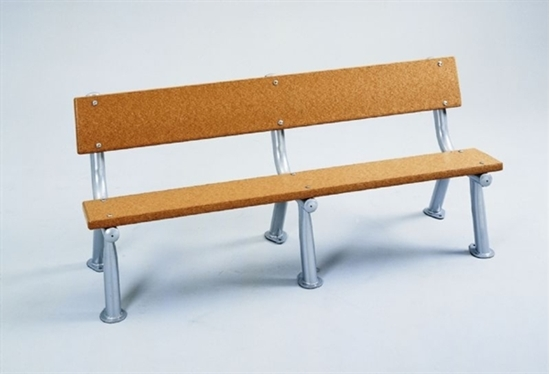 Picture of 8 Ft. Recycled Plastic Bench with Back - Silver Frame - In Ground Mount