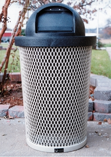 Picture of 32 Gallon Plastic Coated Expanded Metal Tapered Trash Receptacle