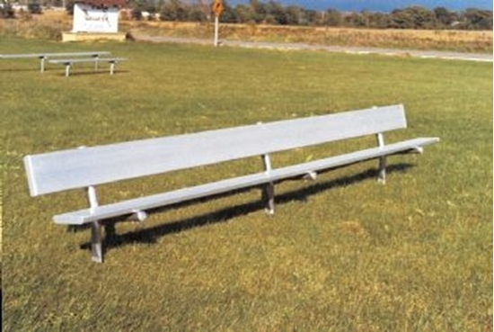 Picture of 8 ft. Aluminum Park Bench with Back - Galvanized Frame - Inground Mount