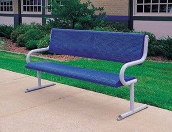 Picture of 6 ft. Bench with Back - Perforated Powder Coated Steel - Portable