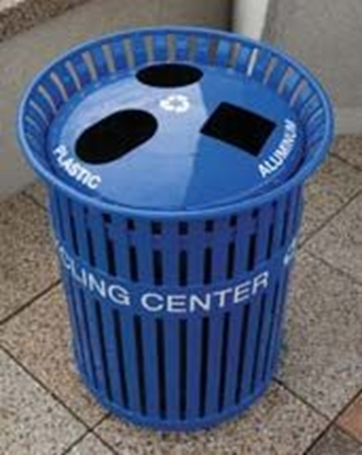 Picture of 14 Gallon Recycling Center - Three Chambers - Plastic Coated Steel Strap with Spun Aluminum Top - Portable