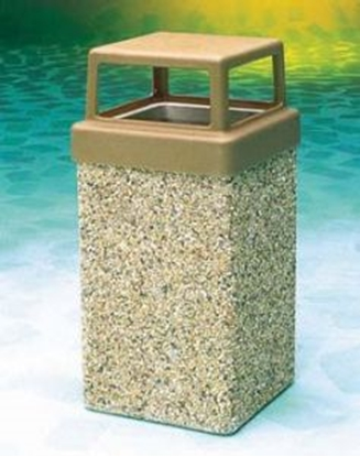 Picture of 9 Gallon Concrete Trash Can - 4 Way Open Top - Portable