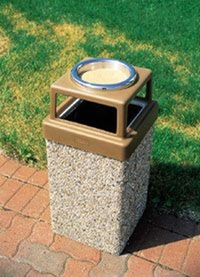 Picture of 9 Gallon Concrete Trash Can - 4 Way Open Top w/ Ashtray - Portable