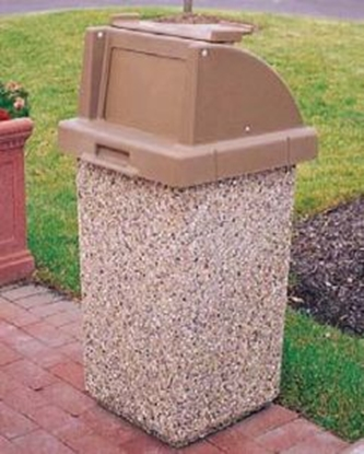 Picture of 30 Gallon Concrete Trash Can - Push Door Lid & Tray Holder - Portable