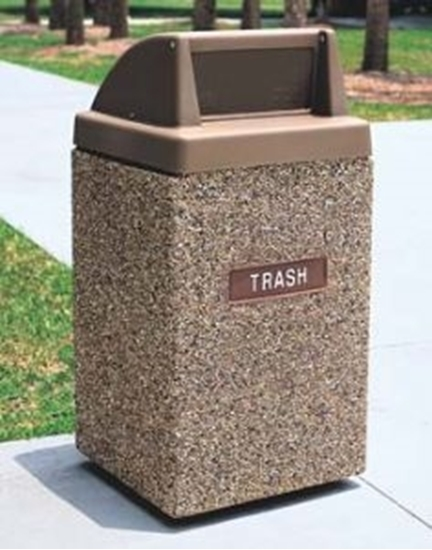Picture of 45 Gallon Concrete Trash Can - Push Door Top - Portable