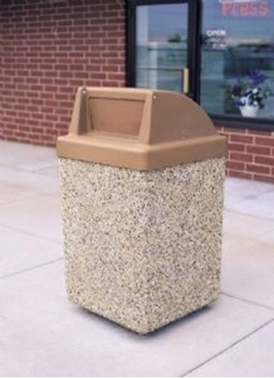 Picture of 53 Gallon Concrete Trash Can with Spring-loaded Push Door - Portable