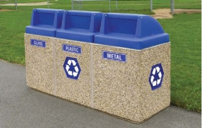 Picture of 45 Gallon Three Container Recycling Center - Separate Push Door Tops - Portable