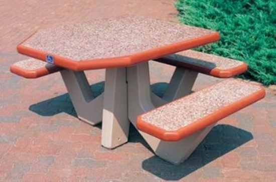 Picture of ADA Concrete Picnic Table - 3 Attached Seats - Portable